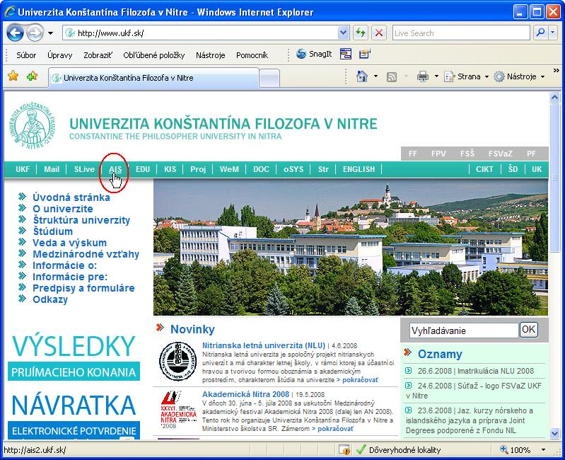 Odkaz na AIS na stránke www.ukf.sk