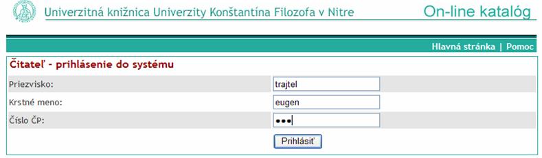 Prihlasovací formulár