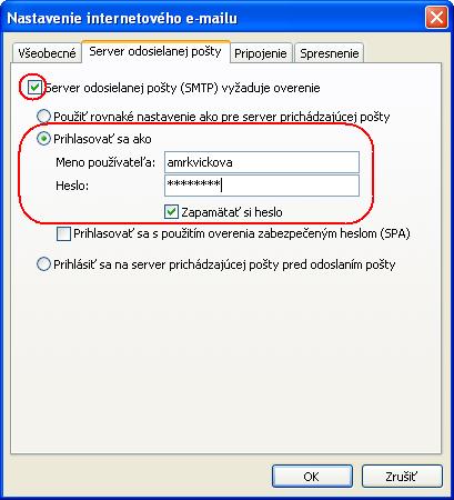 Nastavenie konta - Server odosielanej pošty