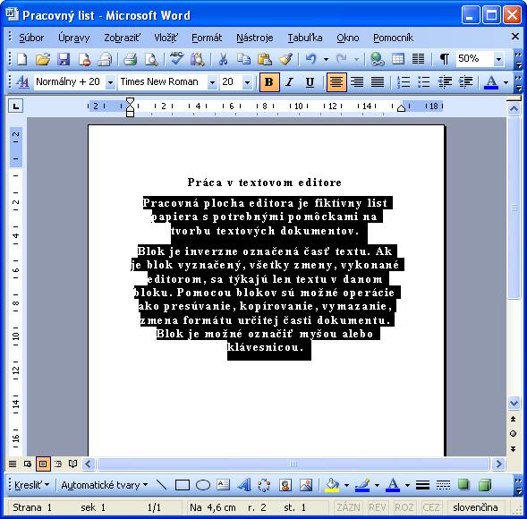 Označíme text, na ktorý chceme aplikovať štýl